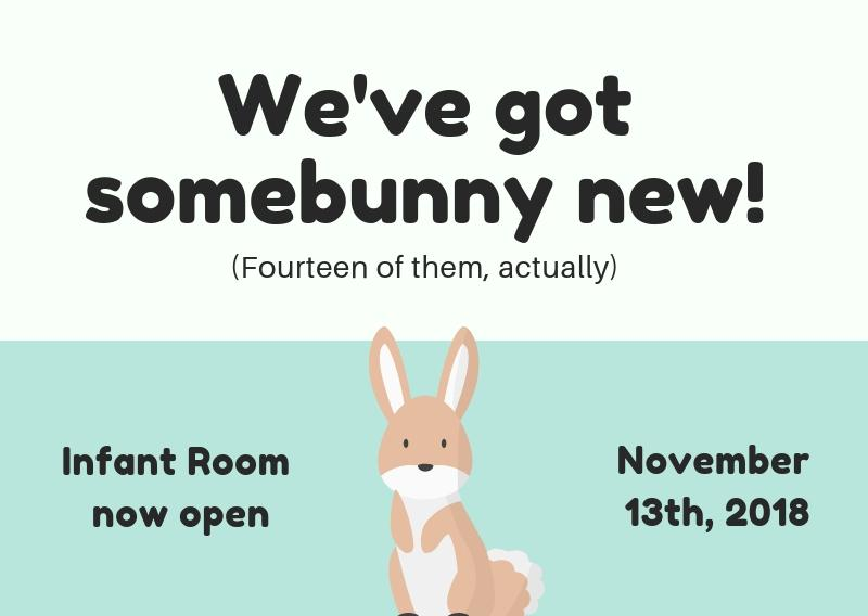 TCC's Infant Room opens November 13th 2018